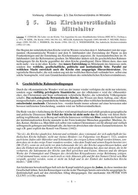 Das Kirchenverständnis im Mittelalter - Theologie-Skripten