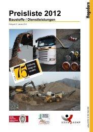 Preisliste 2012 Baustoffe / Dienstleistungen - Jules Hagedorn AG