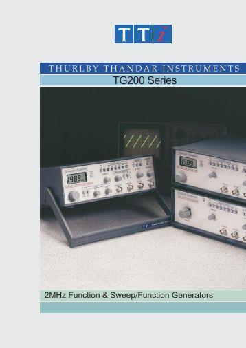 TG200 Series Function Generator - Colour Brochure - TTi