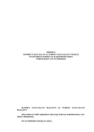 Suomen ja Turkin verosopimus - Valtiovarainministeriö