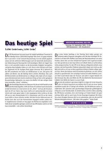 Liebe Leserinnen, liebe Leser! - www.VfR-Forum.de