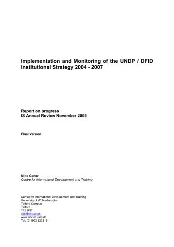 Implementation and Monitoring of the UNDP / DFID - ASP2 Home ...