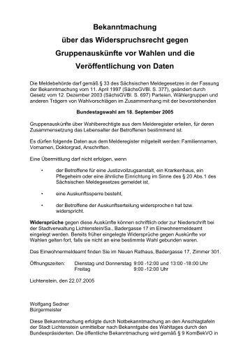 Bekanntmachung über das Widerspruchsrecht  gegen ...