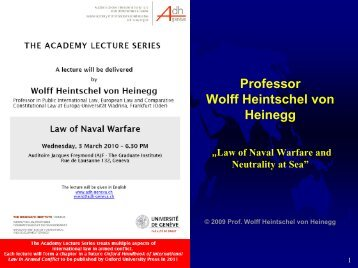 Law of Naval Warfare and Neutrality at Sea - Geneva Academy of ...