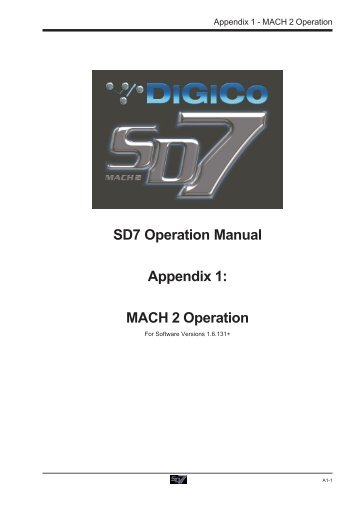 Sd8 Operation Manual Appendix 1: Overdrive Operation - Digico
