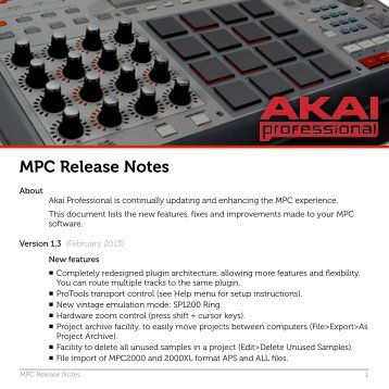 MPC Release Notes - Akai Pro MPC