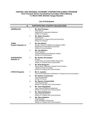 PROGRAM Third Transport Sector Coordinating ... - CAREC