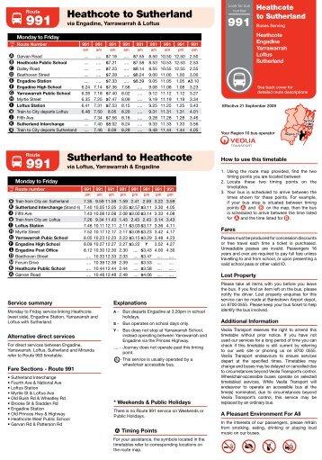 Heathcote to Sutherland - Veolia Transport NSW