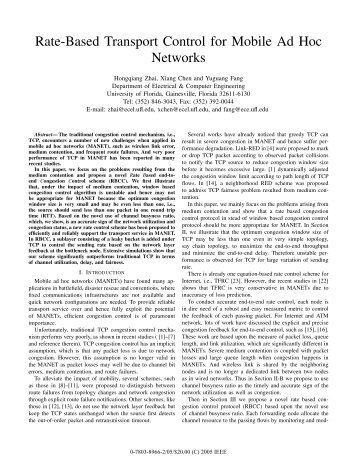 Rate-Based Transport Control for Mobile Ad Hoc Networks