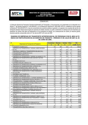 COMUNICADO La Dirección General de Transporte Terrestre del ...