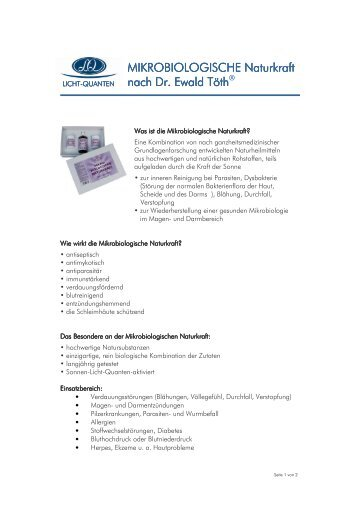 MIKROBIOLOGISCHE Naturkraft BIOLOGISCHE ... - Licht-Quanten