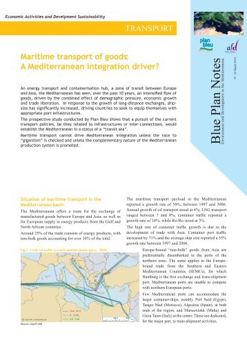 Maritime transport of goods: a Mediterranean integration ... - Plan Bleu