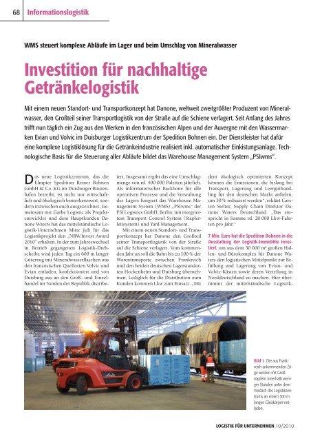 Investition für nachhaltige Getränkelogistik - PSI Logistics GmbH