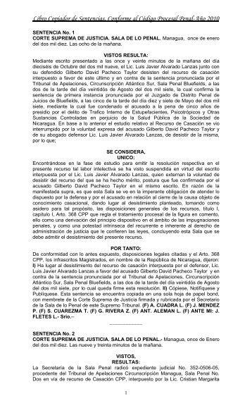 Libro Copiador de Sentencias, Conforme al Código ... - Poder Judicial