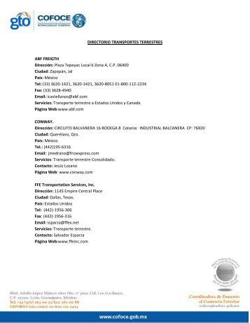 DIRECTORIO TRANSPORTES TERRESTRES ABF ... - cofoce