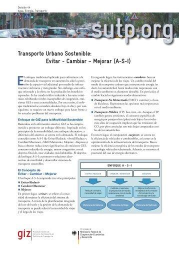 Transporte Urbano Sostenible: Evitar - Cambiar – Mejorar (A-S-I)