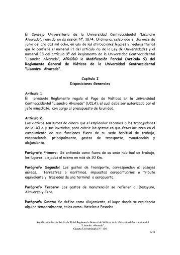 Modificación Parcial (Artículo 9) del Reglamento General de