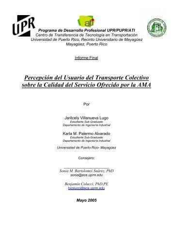Percepción del Usuario del Transporte Colectivo sobre la Calidad ...