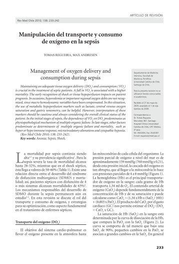 Manipulación del transporte y consumo de oxígeno en la ... - SciELO