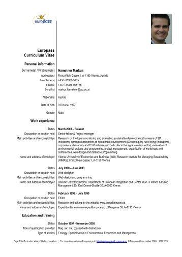 Europass Curriculum Vitae Research Institute For Managing