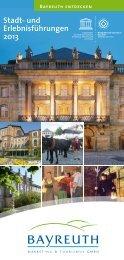 Stadt- und Erlebnisführungen 2013 - Stadt Bayreuth