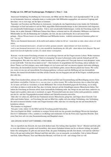 Predigt am 12.6. 2005 mit Trachtengruppe. Predigttext 1 ... - ulka.ch
