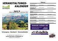 Veranstaltungen 2013 - Schangnau - Bumbach - Kemmeriboden