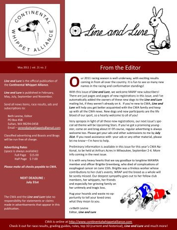 From the Editor - Continental Whippet Alliance