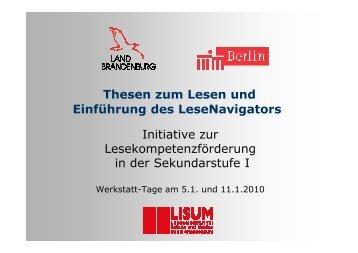 Präsentation mit Informationen zum LeseNavigator - Bildungsserver ...