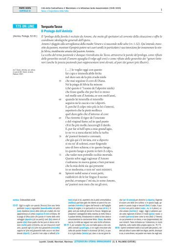 Torquato Tasso Il Prologo dell'Aminta T75 ON LINE - Palumbo Editore