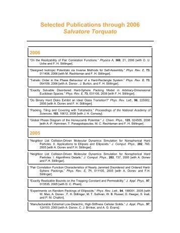 Salvatore Torquato Publications