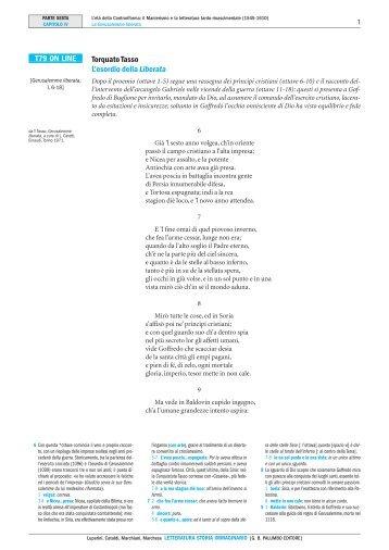 Torquato Tasso L'esordio della Liberata T79 ON ... - Palumbo Editore