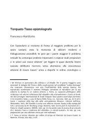 Torquato Tasso epistolografo - Associazione degli Italianisti Italiani