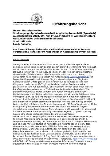 Erasmus Erfahrungsbericht - Akademisches Auslandsamt