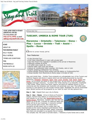 TUSCANY, UMBRIA & ROME TOUR - Italy Tours & Hotels - Stay and ...