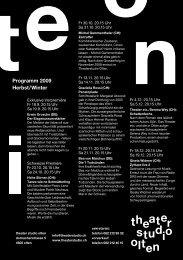 Programm 2009 Herbst/Winter - Theaterstudio Olten