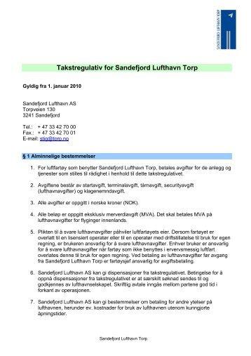 Takstregulativ for Sandefjord Lufthavn Torp