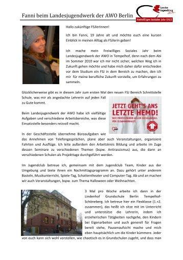Fanni beim Landesjugendwerk der AWO Berlin