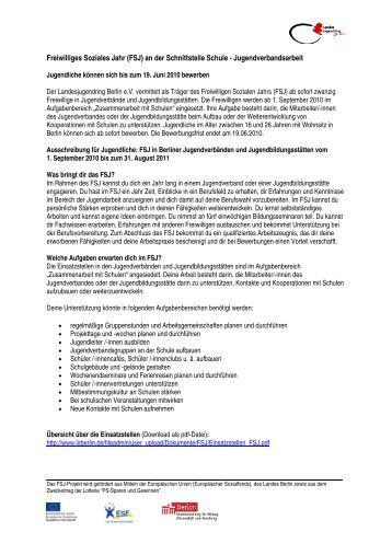 freiwilliges soziales jahr fsj landesjugendring berlin - Freiwilliges Soziales Jahr Bewerbung