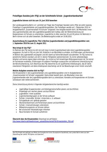 Freiwilliges Soziales Jahr (FSJ) - Landesjugendring Berlin