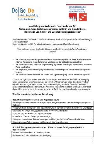 Information zur Ausbildung Kinder- Und Jugendpartizipation 2010-11