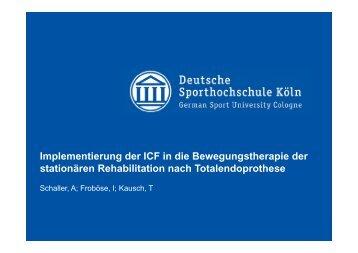 Implementierung der ICF in die Bewegungstherapie der ... - DGRW