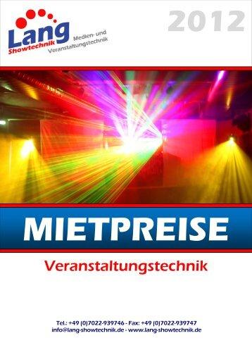 Mietpreisliste Veranstaltungstechnik - Lang Showtechnik
