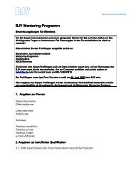 BJV Mentoring BJV Mentoring-Programm Programm Programm