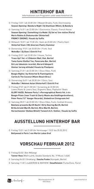 Hinterhof Bar Information