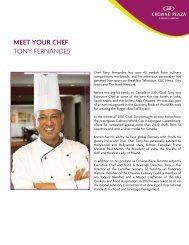 Chef Tony Fernandes Bio - Crowne Plaza Toronto Airport