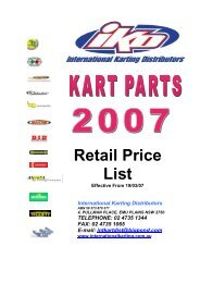 Retail Price List - International Karting Distributor