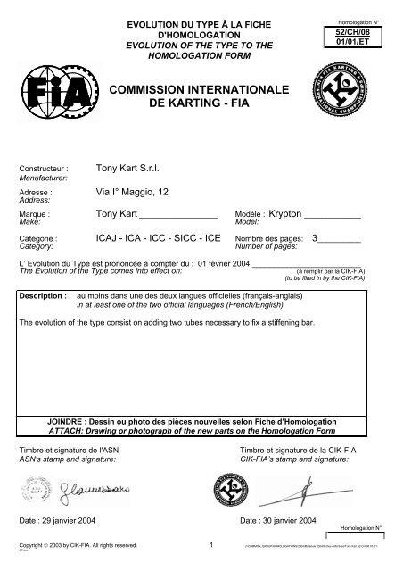 adresse kart COMMISSION INTERNATIONALE DE KARTING   FIA   TONY KART