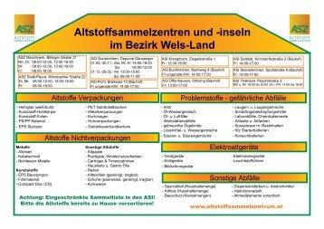 Altstoffsammelzentren und -inseln im Bezirk Wels-Land