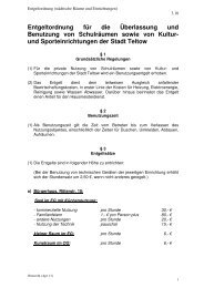 Entgeltordnung für die Überlassung und ... - der Stadt Teltow